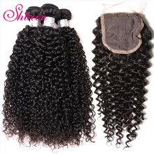 Brazillian Curly Hair With Closure Human Hair 3 Bundles With Closure Brazilian Hair Weave Bundles with Closure Remy Human Hair(China)