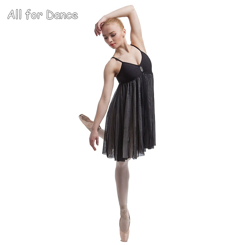 Free Shipping High Quality Lycra Dance Dress With Two Layers Mesh Skirt For Lyrical/Contemporary Dance Costumes image