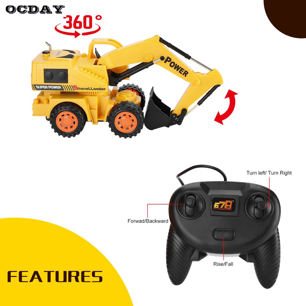 Boys RC Car font b Toy b font Remote Control RC Cars 5CH LED Wheel Excavator