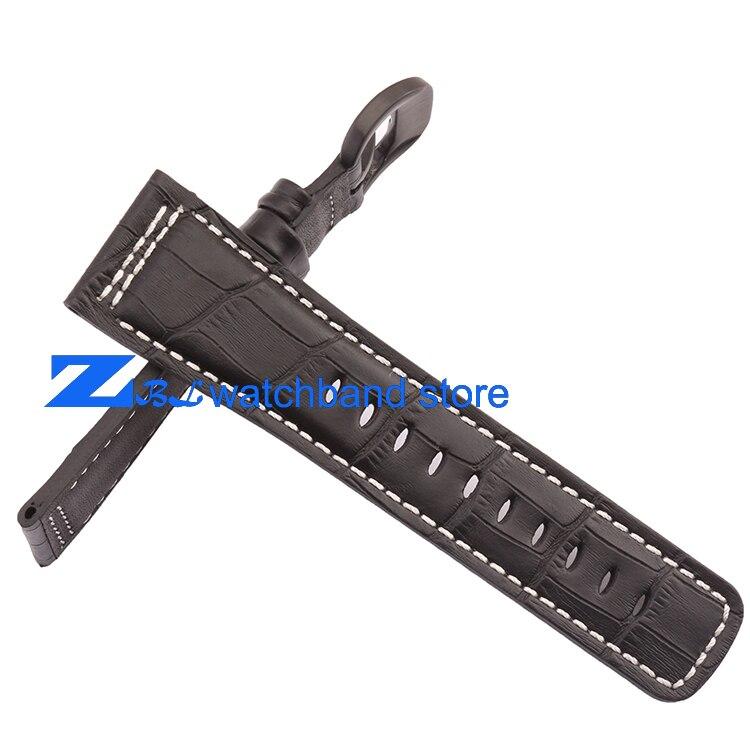 Bracelet en cuir véritable 28mm le bracelet de montre de haute qualité bracelet de montre noir avec blanc cousu pour vendredi hommes montre accessoires - 3