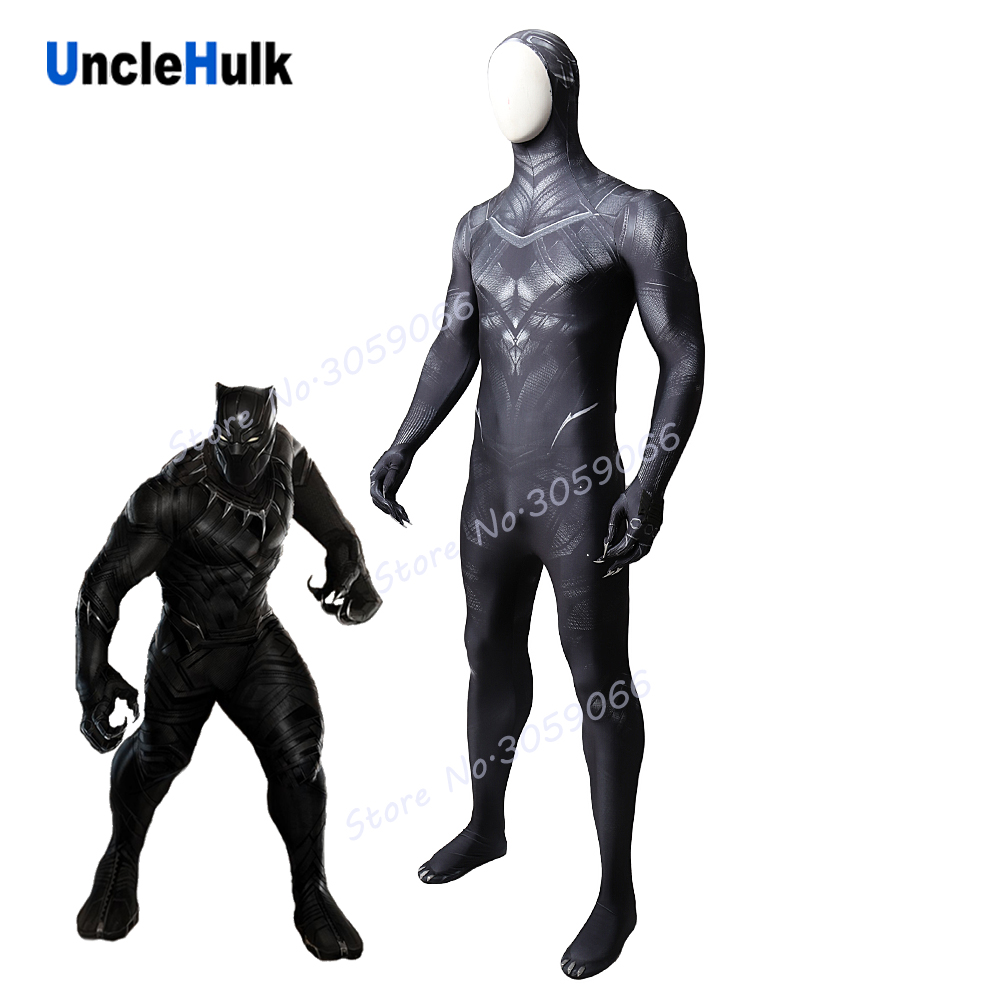 Black Panther Lycra Spandex Zentai Suit Cosplay Costume in 2017 Movie Captain American - blacken edition | UncleHulk
