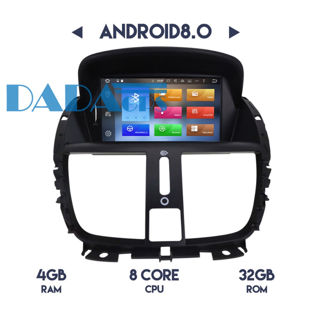 Android 8.0 7.1 Radio Car Stereo GPS Navi Headunit for Peugeot 207 2008 2009 2010 2011 2012 2013 2014 Car DVD Player Audio IPS