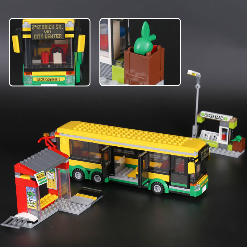 Lepin 02078 377Pcs The Bus Station Set 60154 Model City Series Building Blocks Bricks Educational Toys As Kids Birthday Gifts ynynoo lepin 02043 stucke city series airport terminal modell bausteine set ziegel spielzeug fur kinder geschenk junge spielzeug