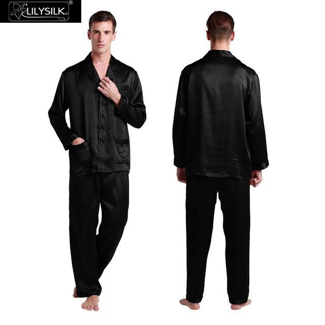 Lilysilk Puro para Hombres Pijamas de Seda Sexy ropa de Dormir Pijamas Masculinos Conjuntos Marca de Lujo Japonés Salón Homewear Otoño Invierno Ropa de Dormir