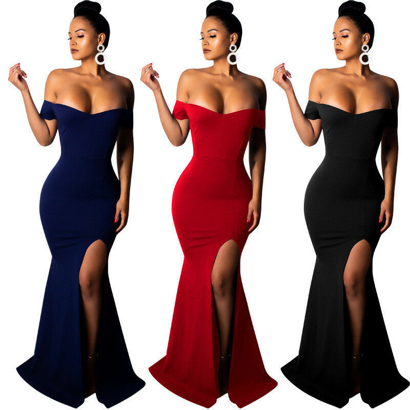 Doragrace Real Photo robe de soiree Simple Elegant Sexy Strapless Off-Shoulder   Evening     Dresses   With High Side Split