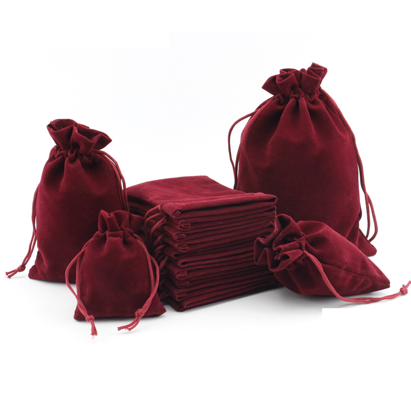 50pcs Small Flannel Jewellery Bag 5x7cm 7x9cm 10x15cm Velvet Drawstring Pouches Jewelry Packaging Personalized Wedding Favor Bag