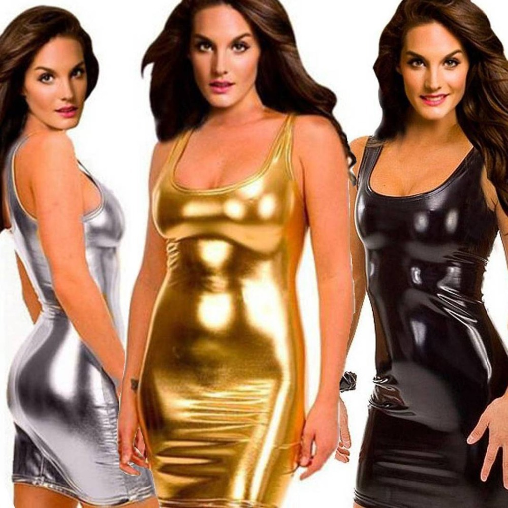 2018 Women Hot Sexy Latex Bodycon Dress Pvc Sexy Lingerie Catsuit Latex Dresses Gold Silver Black Teddies Costumes One Size