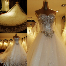 Custom Made Ball Gown Sweetheart Lace Crystal Beaded Diamond Formal Wedding Dresses Luxury Bridal Gowns Real Photos XJ05