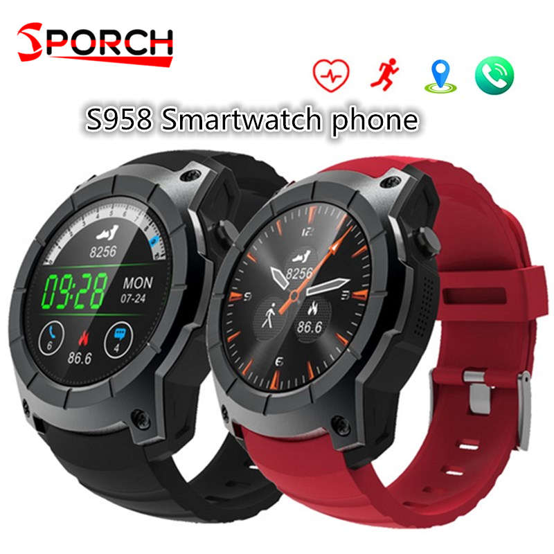 S958 GPS SmartWatch Heart Rate Monitor Sports Waterproof SIM Card Communication Bluetooth 4.0 Smartwatch for Android IOS Phone smartch s958 smart watch sport waterproof heart rate monitor gps 2g sim card calling all compatible smartwatch for android ios c