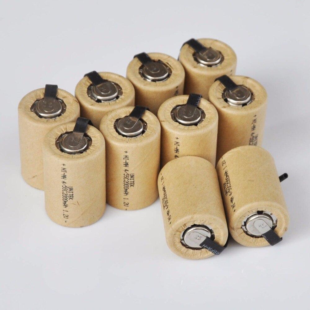 10-16 pièces 4/5SC 1.2 V batterie rechargeable 2000 mah 4/5 SC Sub C ni-mh nimh cellule avec onglets de soudage pour perceuse électrique tournevis
