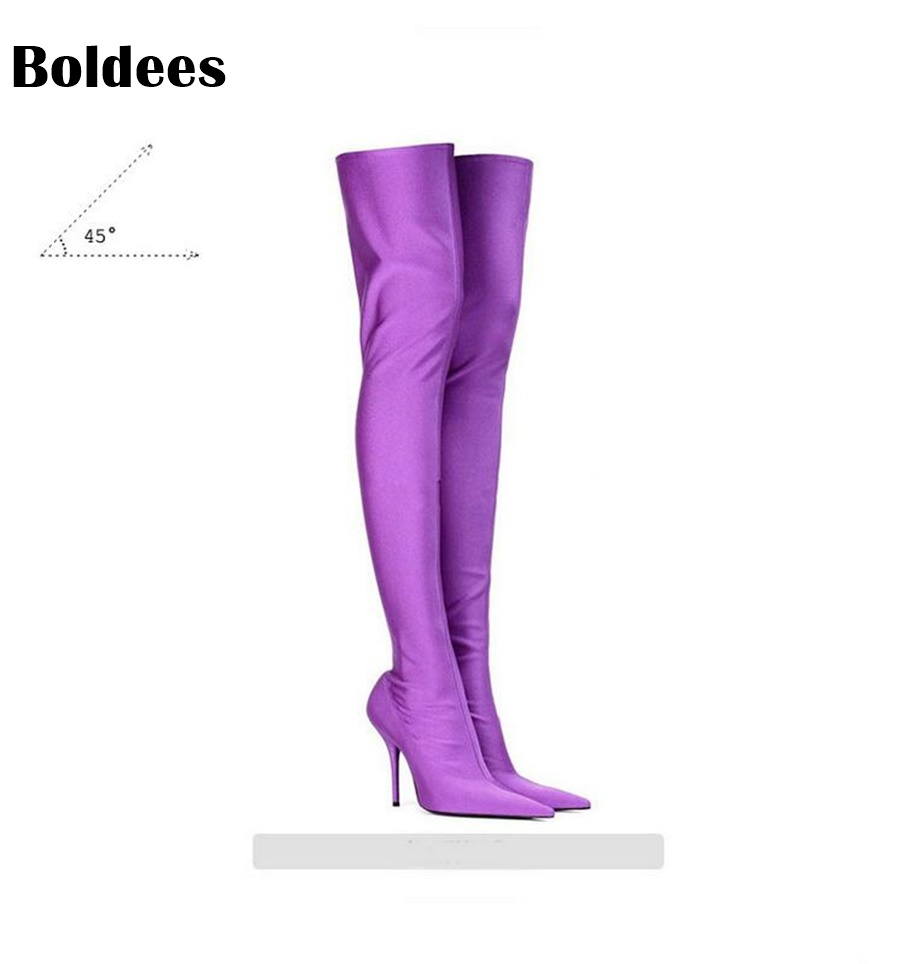 Sexy Stretch Satin Thigh High Boots Women Pointed Toe Thin High Heels Botas Women Slip On Over The Knee Boot