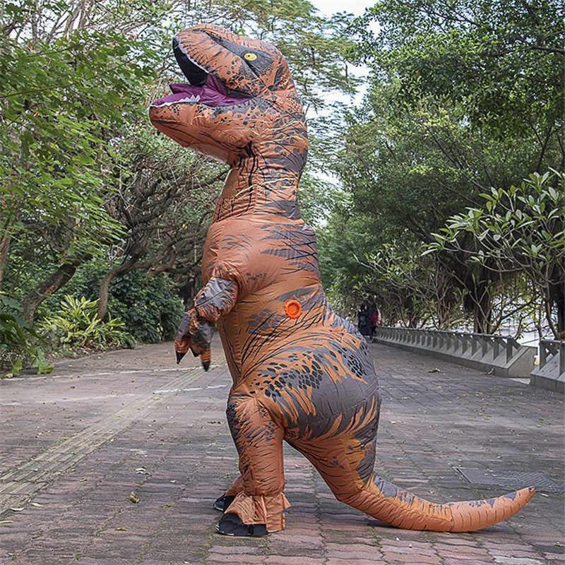Oloey надувной костюм для взрослых и детей с принтом динозавра Футболка костюмы тираннозавров Косплэй мультфильм крупного плана маскарадный костюм, костюмированный талисман Пурим комбинезон # TRex001