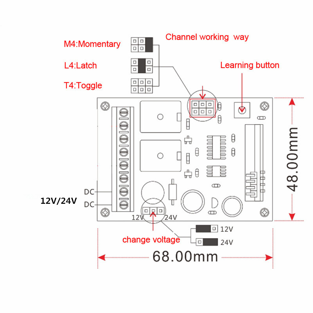Smart Home DC12V 24V 2CH RF Wireless Remote Control Switch 315Mhz 433Mhz  2Key Transmitter & Receiver with Cover High Quality -in Switches from  Lights ...
