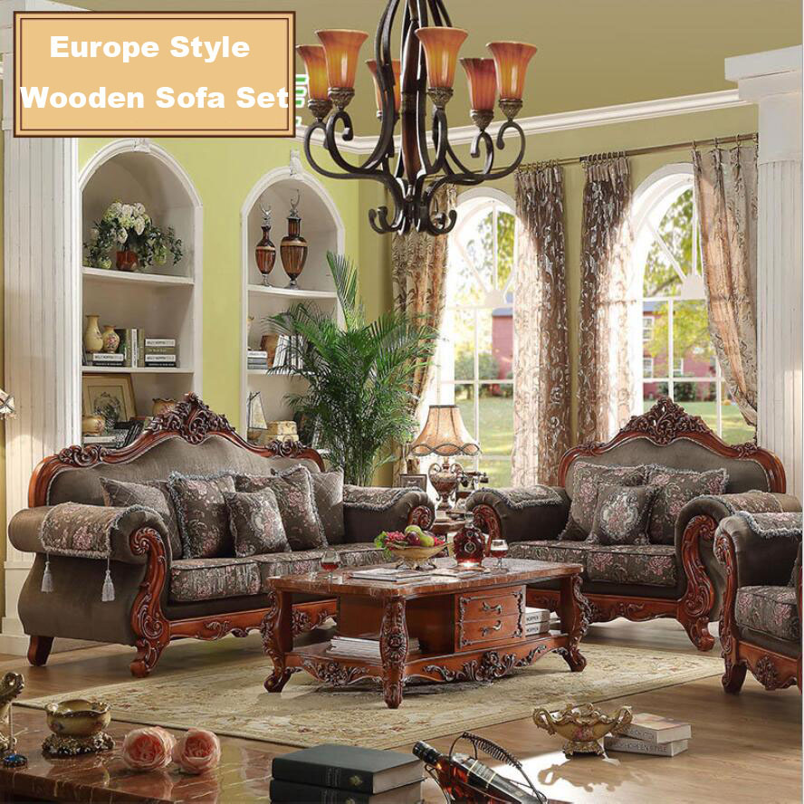 Webetop modern design luxury sofa set hand craft oak wood home furniture set solid wood frame sofa set soft fabric sofa