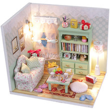 цена на 2015 New Arrive Doll House miniatura 3D Wooden Diy  Dollhouse miniature Furniture For Children Toys dolls houses Birthday Gift