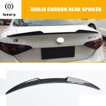 Giulia, alerón de ala trasera del maletero de fibra de carbono completo para Alfa Romeo Giulia 2017 2018 2019, diseño de coche de carreras, labio