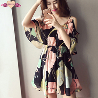 Sexy Print Off Shoulder Dress Beach Summer Women Sundress Ruffles Backless Dresses Floral Tunic Ball Gown