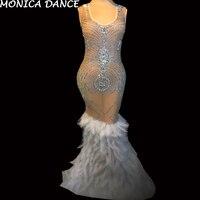 Пикантные блестящие стразы перья See Through платье для женщин на день рождения праздничное платье сетки костюм певица вечернее наряд