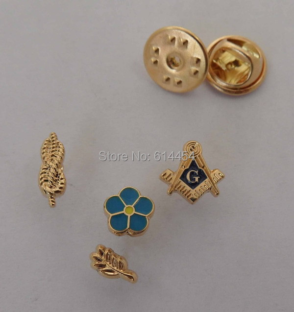 One Set of 4 PCS Mini Masonic Lapel Pins Badge Mason Brīvraksts M2 FORGET ME NOT