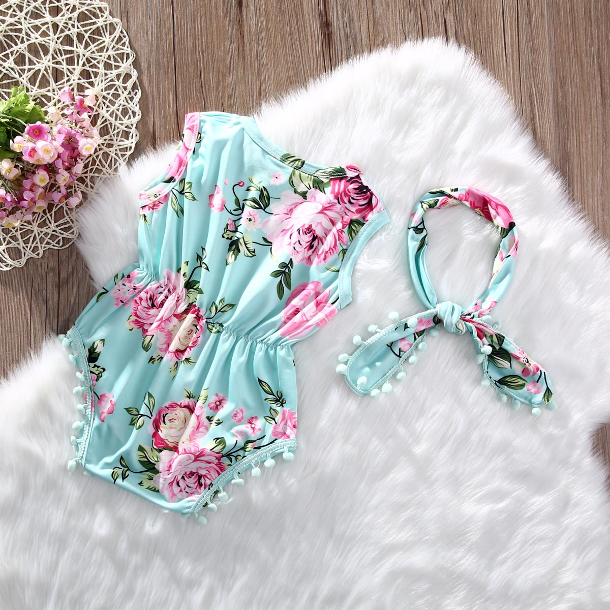 bdb3b2db0f9a2 US $3.48 |2Pcs/Set Newborn Infant Baby Girl Floral Romper Sleeveless Tassel  Jumpsuit +Headband Sunsuit Outfits Clothes-in Rompers from Mother & Kids ...