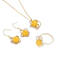 gemstone factory wholesale fashionable yellow gold 925 sterling silver natural amber earring pendant necklace rings jewelry set