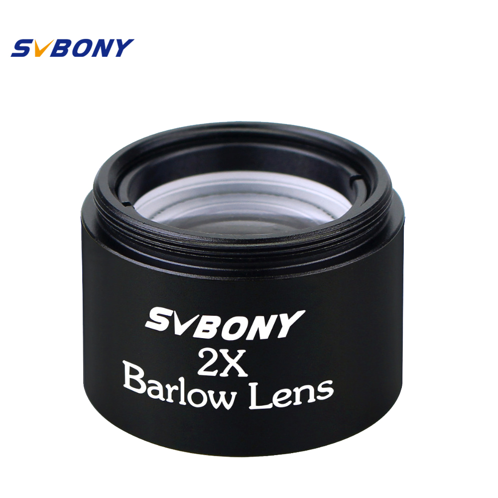 SVBONY 1.25'' Barlow Lens X 2 Telescope M28.6*0.6 Thread for Standard Monocular Binoculars Optics Compact Eyepiece 31.7mm F9125 gso 1 25 3 element 2 5x barlow lens