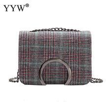Yyw nueva Plaid Bolso pequeño Funny crossbody bolsa de la cadena las mujeres personalidad pu cuero Messenger Bag contraste color bolsos