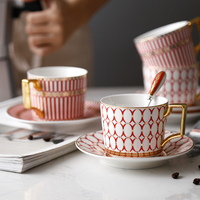 European Style Coffee Cup And Saucer Set Ceramic Gold Bone China Coffee Cup Simple Afternoon Tea