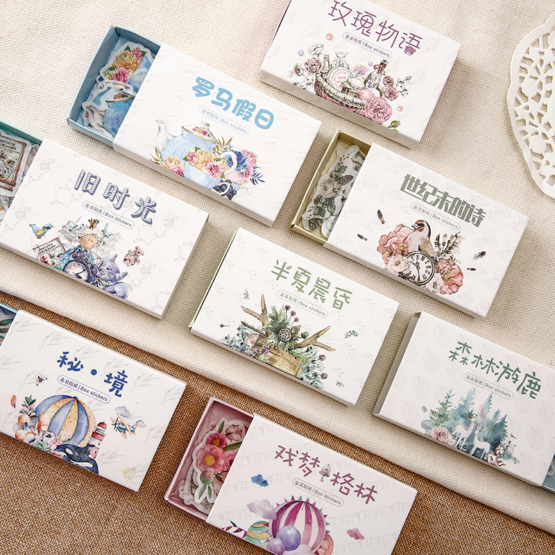 40 Pcs/box Retro Time Series Bullet Journal Decorative Washi Stickers Scrapbooking Stick Label Diary Stationery Album Stickers