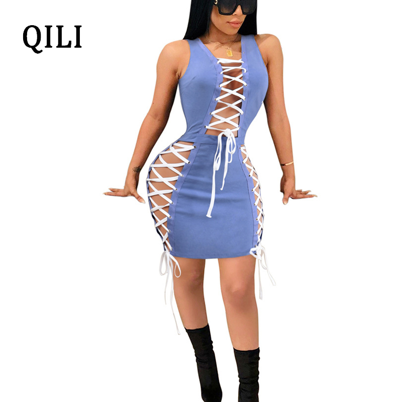 QILI Sexy Lace Up Bandage Women Dress White Blue Sleeveless Zipper Hollow Out Mini Dresses Night Club Female