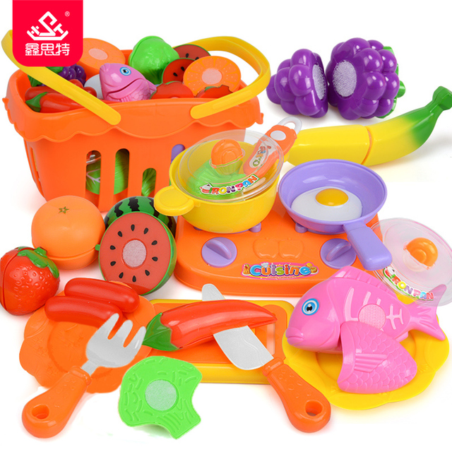 kids kitchen toys glacier bay faucet parts children cutting vegetables fruit plastic food set girls cooking pretend play toy shopping basket playset gift