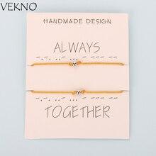 VEKNO 2 шт./лот 4 мм бисера пара парные браслеты женские плетенные Регулируемая Веревка красная строка дружбы браслет