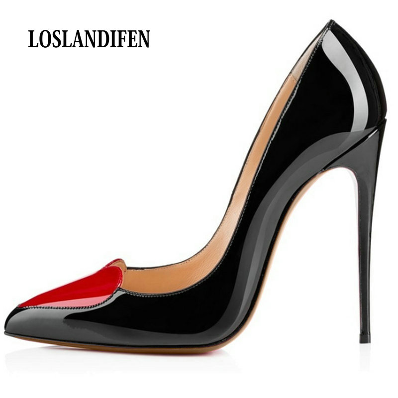 LOSLANDIFEN WOMENS MATTE HIGH HEEL POINTED TOE Red Heart-shaped Stitching CORSET STYLE WORK RED BOTTOM PUMPS COURT SHOES WOMAN