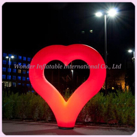 Most popular giant inflatable red heart led lighting decoration inflatable heart balloon for wedding decoration