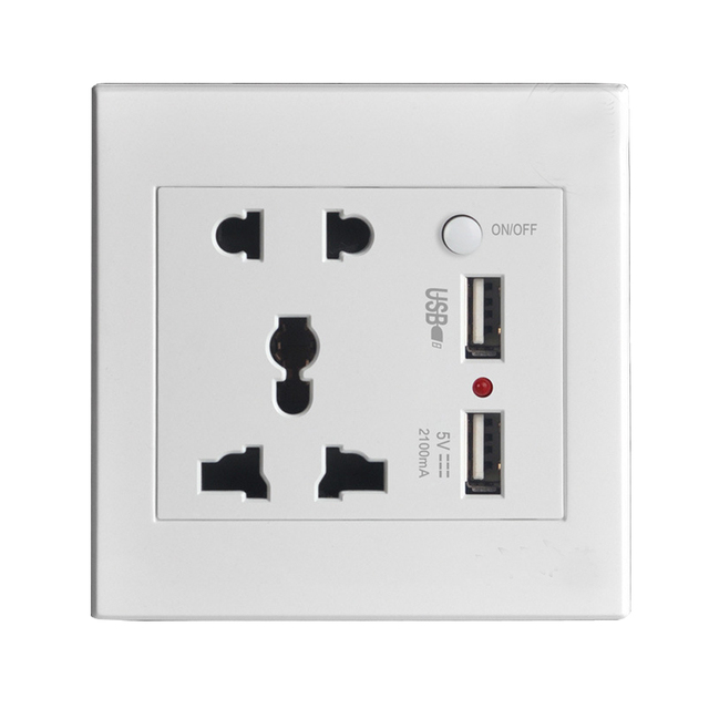 Wall Power Socket Plug Grounded, Universal Electrical Outlet With ...