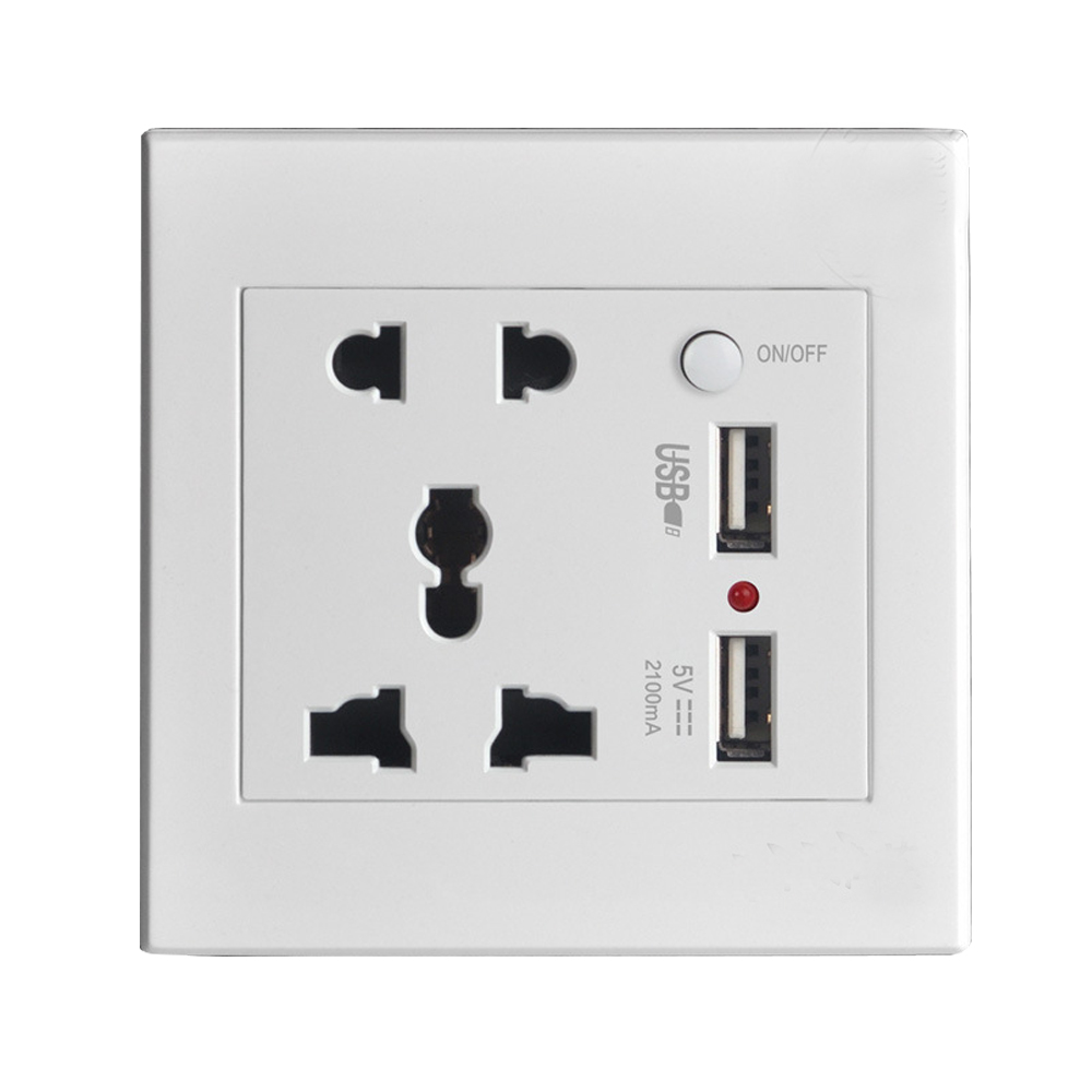 Wall Power Socket Plug Grounded, Universal Electrical Outlet With 2100mA Dual USB...