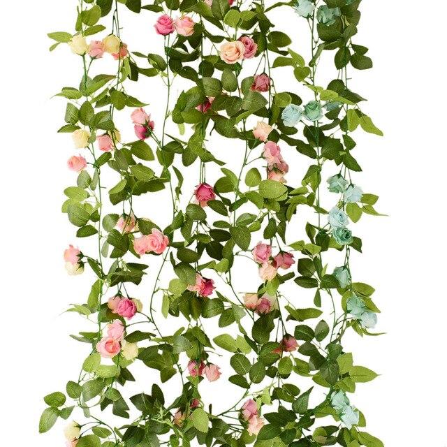 Sutra buatan bunga mawar anggur untuk lengkungan jembatan Dinding pohon  dekorasi rumah ayunan taman partai pernikahan 1f7957c999