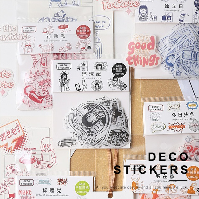 40pcs/pack Diy Diary Sticker Lovely Cartoon Handbook Decoration Cute Sticker Label Scrapbooking Stickers