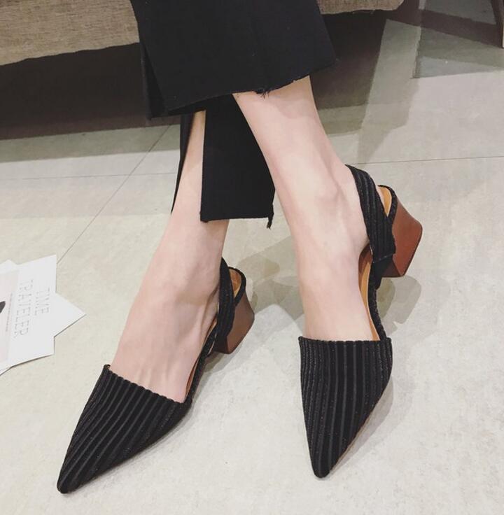 En Air Dames Talon Noir Diapositives Printemps Mode Femmes Talons Plein Chaussures Nouveau Sandale Med rose Carré Mules 2018 zqpPx