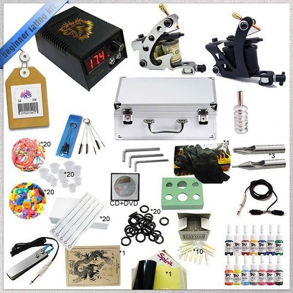 Professional Complete Tattoo Machine Kit ,Digital LCD Tattoo Power Supply Set TTKS-TK-2504, Mini Tattoo Kit. professional tattoo kit 5 guns complete machine equipment sets teaching cd ink for beginners body art beauty tools tk 2509 m