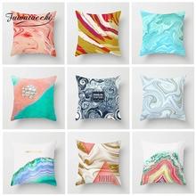 Fuwatacchi Geometric Cushion Cover Ocean Beach Watercolor Painting Pillow For Decorative Home Sofa Chair Car Pillowcases