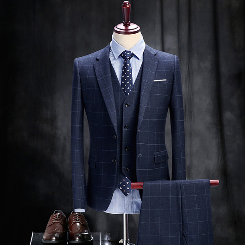 3 picese suit jacket vest pant 2017 fashion man suit slim blue plaid tow button weeding groom. Black Bedroom Furniture Sets. Home Design Ideas