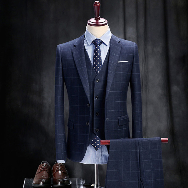 3 Picese Suit Jacket + Vest + Pant 2017 Moda Hombre Delgado Traje Azul A Cuadros Botón de remolque Escarda Novio Trajes Smoking traje Homme