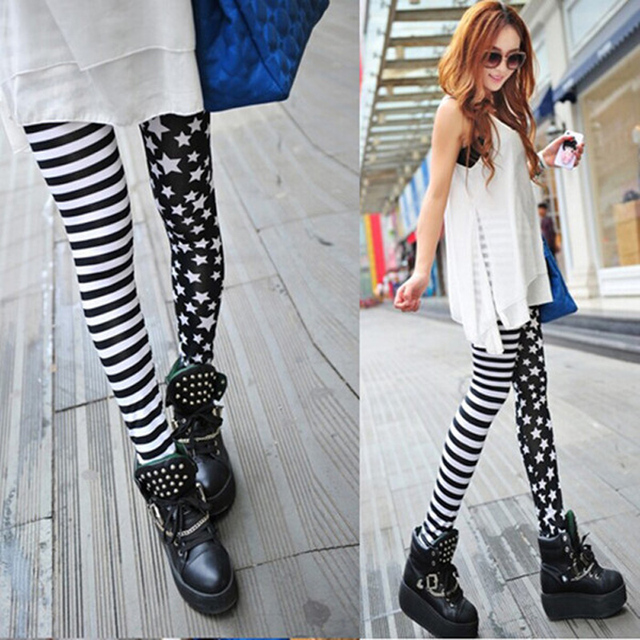 Ladys Girls Fashion Sexy Lady Womens Stripe Star Skinny Slim Stretchy High waist Trousers Leggings Pants Female Leggins