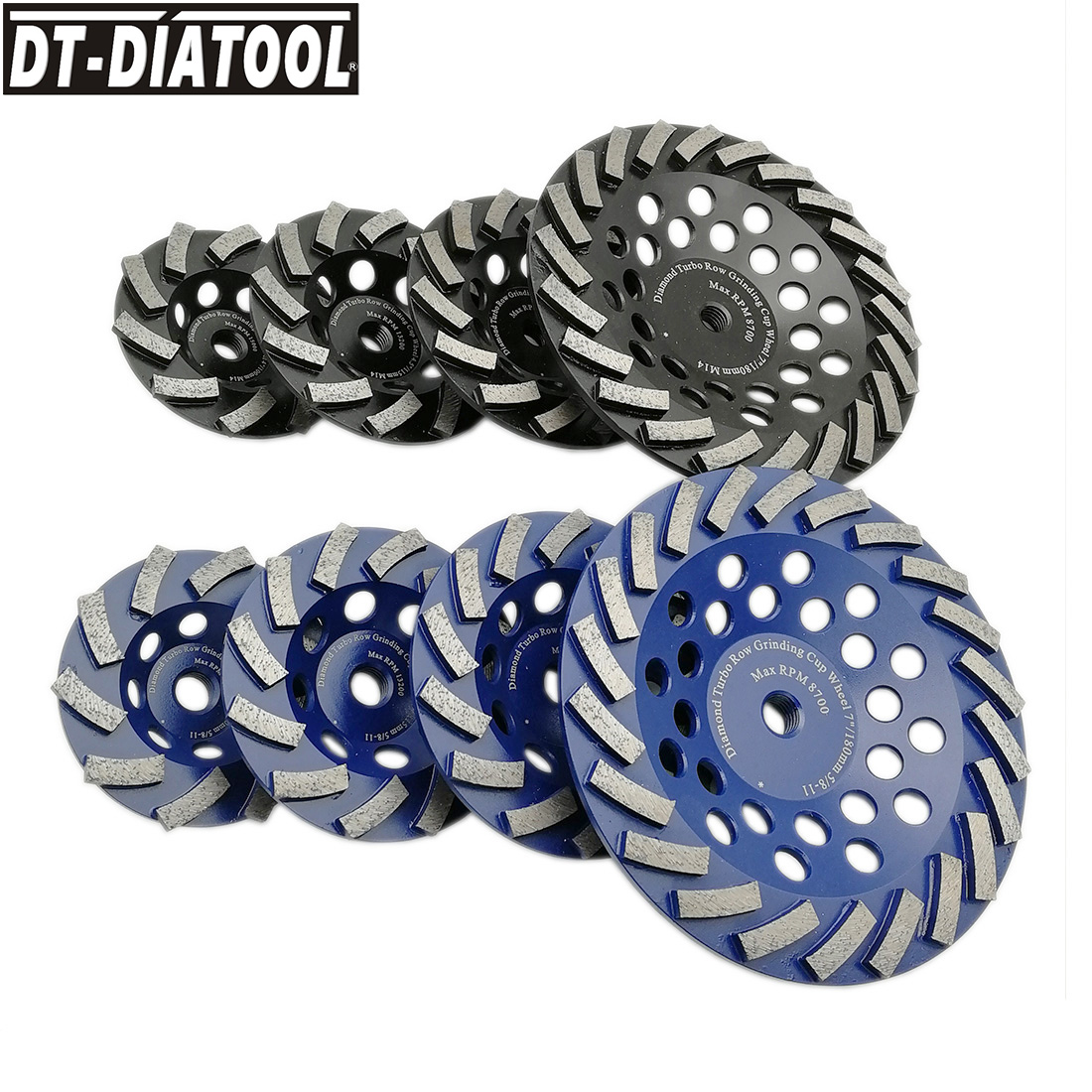DT-DIATOOL 1pc Dia 100/115/125/180mm Diamond Segmented Turbo Cup Grinding Wheel For Concrete Granite With M14 Or 5/8-11 Thread