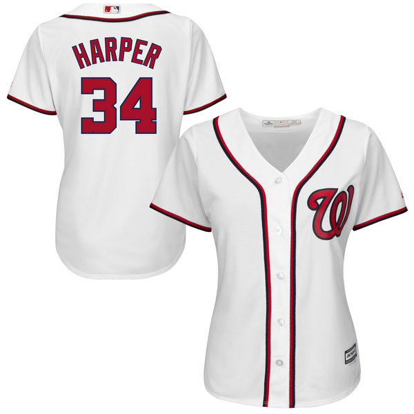 8f94b8ca3 MLB Women s Washington Nationals Bryce Harper White Home Cool Base Player  Jersey