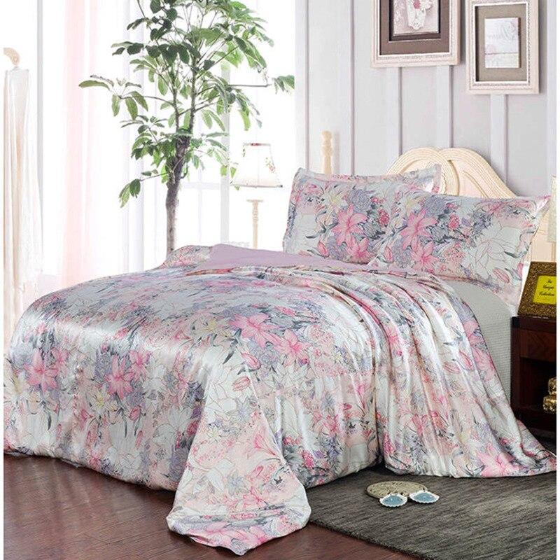 Neue 100% Mulberry Charmeuse Seide Bettwäsche Set 3 stücke Seide Bettbezug Kissenbezug Floral Silk Duvet Abdeckung Sätze Multicolor Multi größe-in Bettwäsche-Sets aus Heim und Garten bei  Gruppe 1