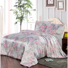 New 100% Mulberry Charmeuse Silk Bedding Set 3PCS Silk Duvet Cover Pillowcase Floral Silk Duvet Cover Sets Multicolor Multi Size