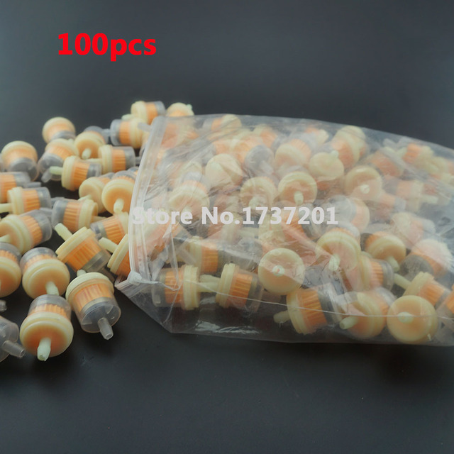 100pcs engine inline gas magnetic fuel filter with magnet 1/4