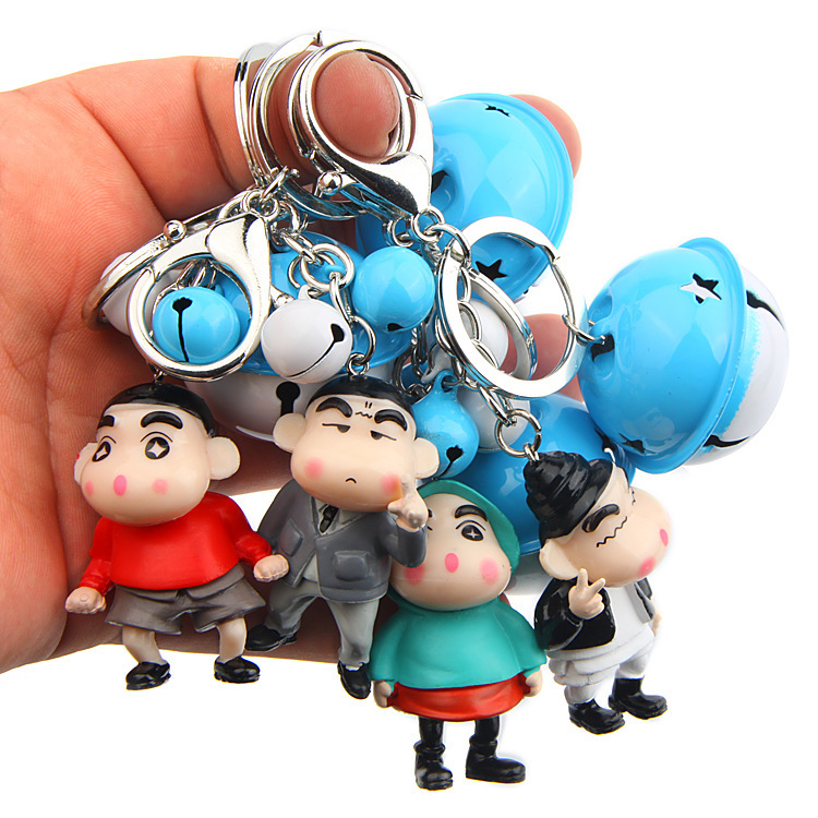 4 Pcs/set Crayon Shin Chan Doll Simple Modern Cartoon Animation Action Figure For Key Ring Mascot Key Chain Holder Purse Bag
